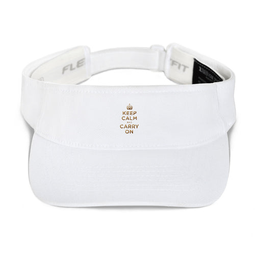 White Keep Calm and Carry On (Gold) Visor by Design Express