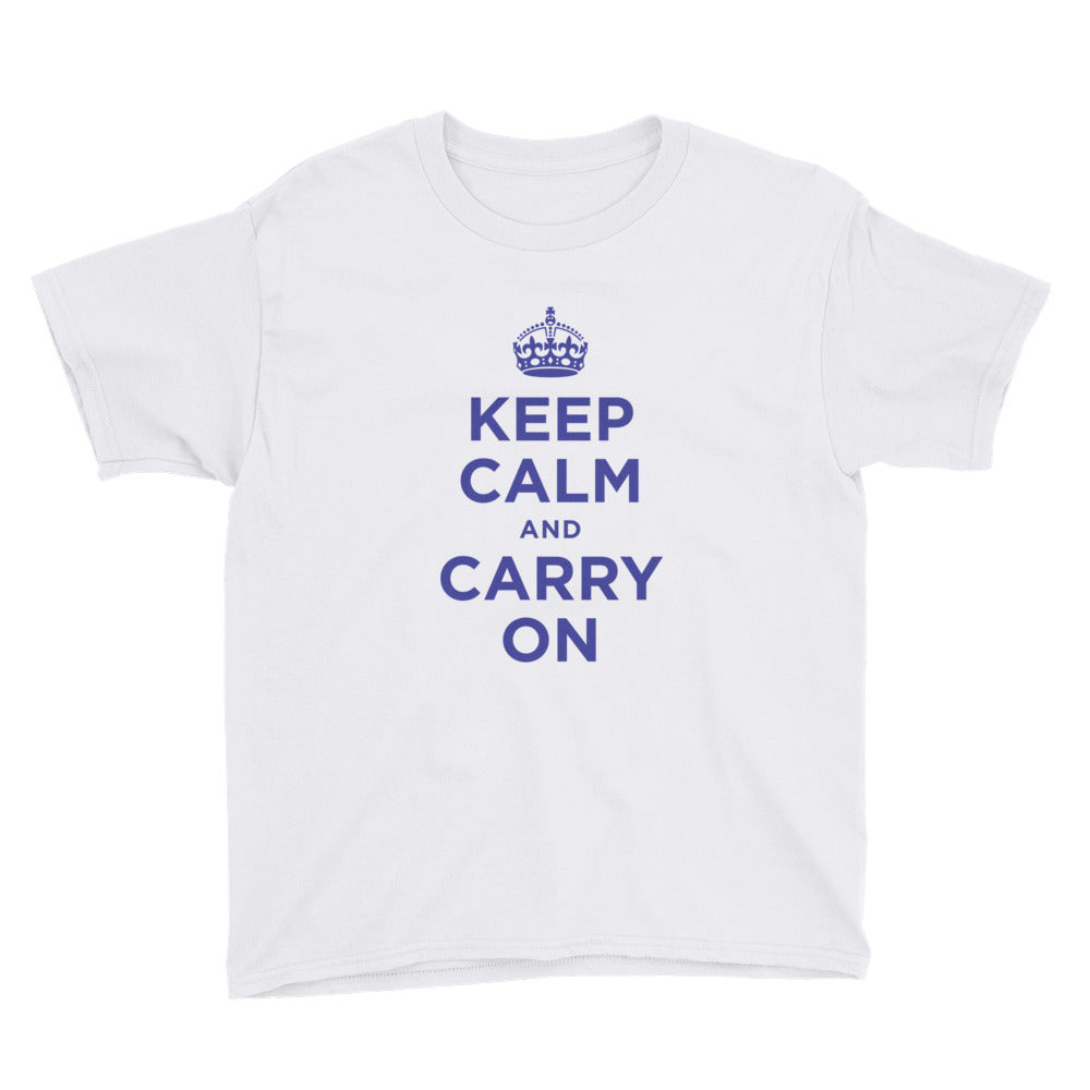 White / XS Keep Calm and Carry On (Navy Blue) Youth Short Sleeve T-Shirt by Design Express