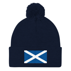 "Navy Scotland Flag ""Solo"" Pom Pom Knit Cap by Design Express"