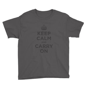 Charcoal / XS Keep Calm and Carry On (Black) Youth Short Sleeve T-Shirt by Design Express