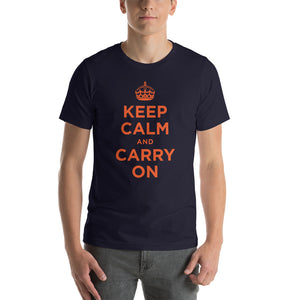Navy / XS Keep Calm and Carry On (Orange) Short-Sleeve Unisex T-Shirt by Design Express
