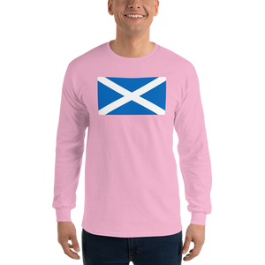 "Light Pink / S Scotland Flag ""Solo"" Long Sleeve T-Shirt by Design Express"