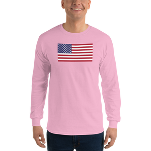 "Light Pink / S United States Flag ""Solo"" Long Sleeve T-Shirt by Design Express"