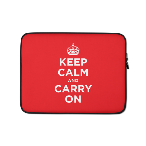 13 in Red Keep Calm and Carry On Laptop Sleeve by Design Express