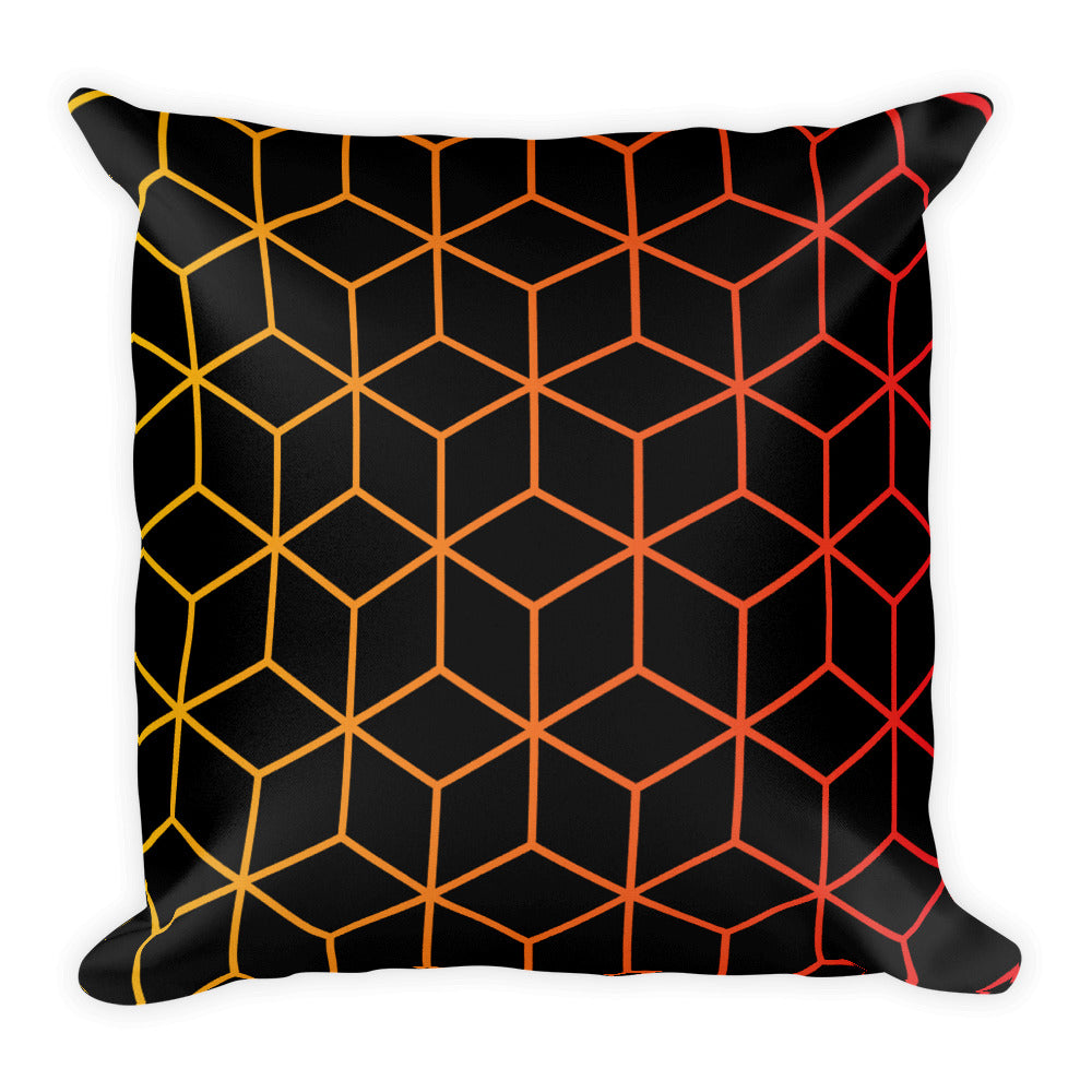 Diamonds Black Orange Yellow Square Premium Pillow