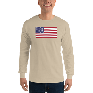 "Sand / S United States Flag ""Solo"" Long Sleeve T-Shirt by Design Express"