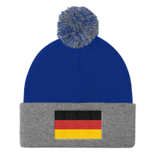 Royal/ Heather Grey Germany Flag Pom Pom Knit Cap by Design Express