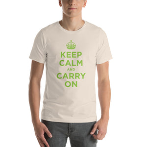 Soft Cream / S Keep Calm and Carry On (Green) Short-Sleeve Unisex T-Shirt by Design Express