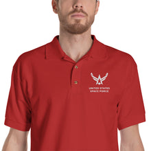 "Red / S United States Space Force ""Reverse"" Embroidered Polo Shirt by Design Express"
