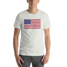 "Ash / S United States Flag ""Solo"" Short-Sleeve Unisex T-Shirt by Design Express"