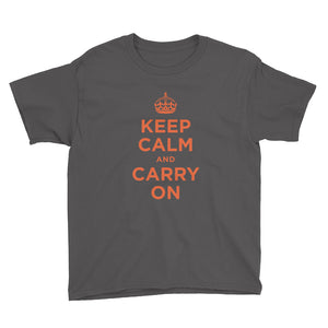 Charcoal / XS Keep Calm and Carry On (Orange) Youth Short Sleeve T-Shirt by Design Express