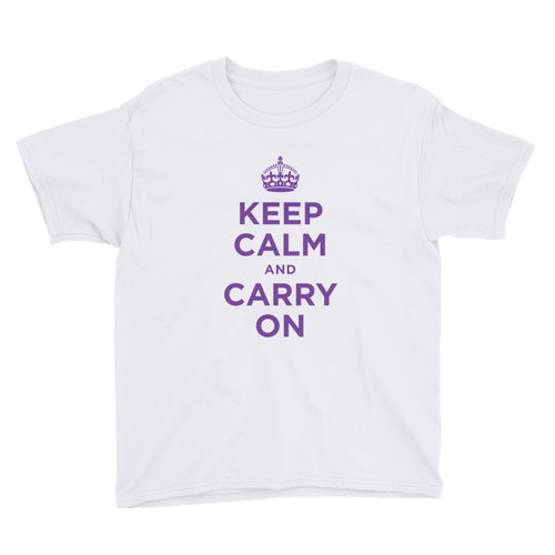 White / XS Keep Calm and Carry On (Purple) Youth Short Sleeve T-Shirt by Design Express