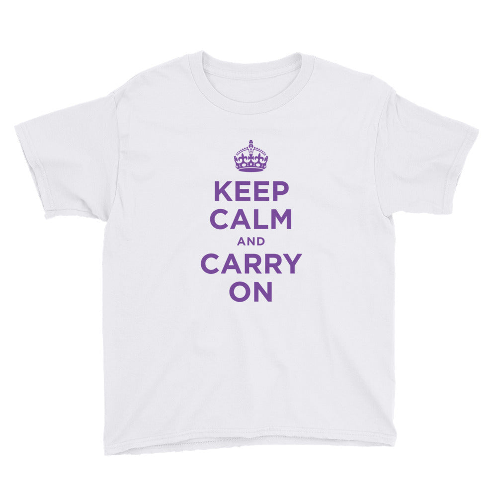 Keep Calm and Carry On (Purple) Youth Short Sleeve T-Shirt