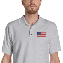 "Sport Grey / S United States Flag ""Solo"" Embroidered Polo Shirt by Design Express"