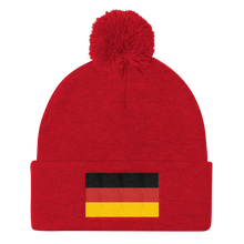 Red Germany Flag Pom Pom Knit Cap by Design Express