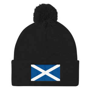 "Black Scotland Flag ""Solo"" Pom Pom Knit Cap by Design Express"