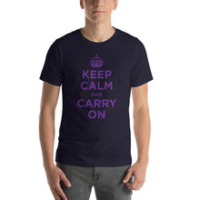Navy / XS Keep Calm and Carry On (Purple) Short-Sleeve Unisex T-Shirt by Design Express