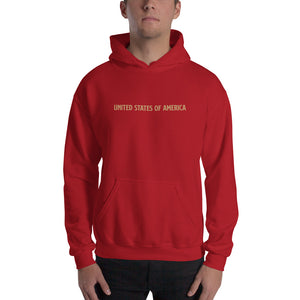 Red / S United States Of America Eagle Illustration Gold Reverse Backside Hooded Sweatshirt by Design Express