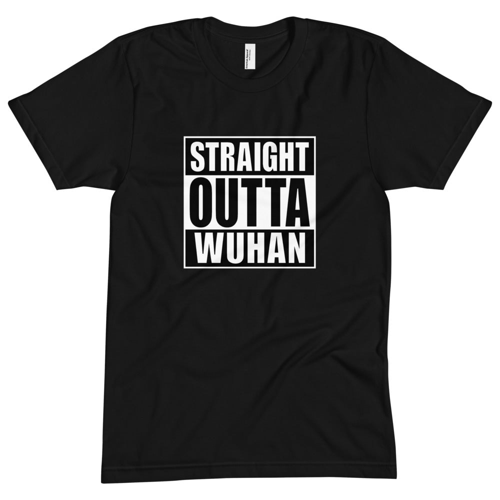 S Straight Outta Wuhan Unisex Crew Neck Black T-Shirt (100% Made in the USA 🇺🇸) by Design Express