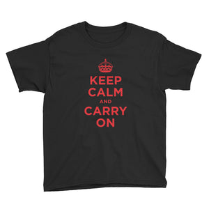 Black / XS Keep Calm and Carry On (Red) Youth Short Sleeve T-Shirt by Design Express