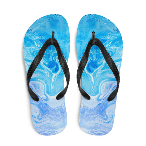 Blue Watercolor Marble Flip-Flops by Design Express