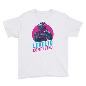 White / XS Darth Vader Level 10 Completed Youth Short Sleeve T-Shirt by Design Express