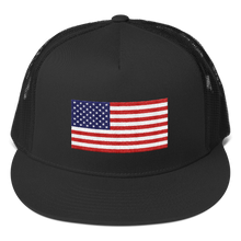 "Black United States Flag ""Solo"" Trucker Cap by Design Express"