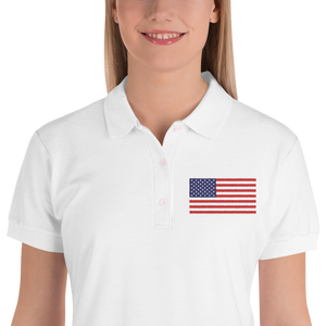 "United States Flag ""Solo"" Embroidered Women's Polo Shirt"