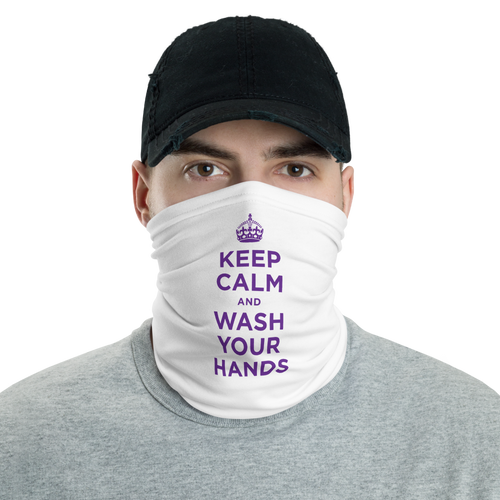 Default Title Purple Keep Calm and Wash Your Hands Neck Gaiter Masks by Design Express