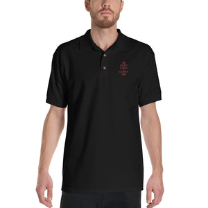 Keep Calm and Carry On (Red Embroidered) Polo Shirt by Design Express