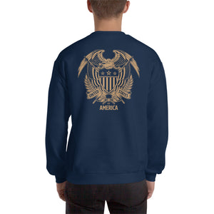 United States Of America Eagle Illustration Reverse Gold Backside Sweatshirt by Design Express