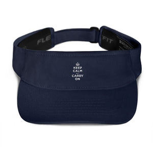 Navy Keep Calm and Carry On (White) Visor by Design Express