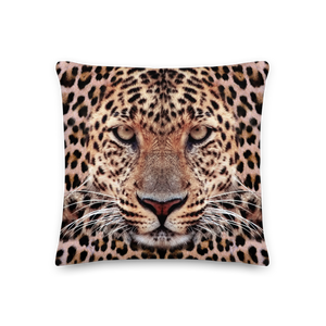 "Default Title Leopard Face ""All Over Animal"" Premium Pillow by Design Express"