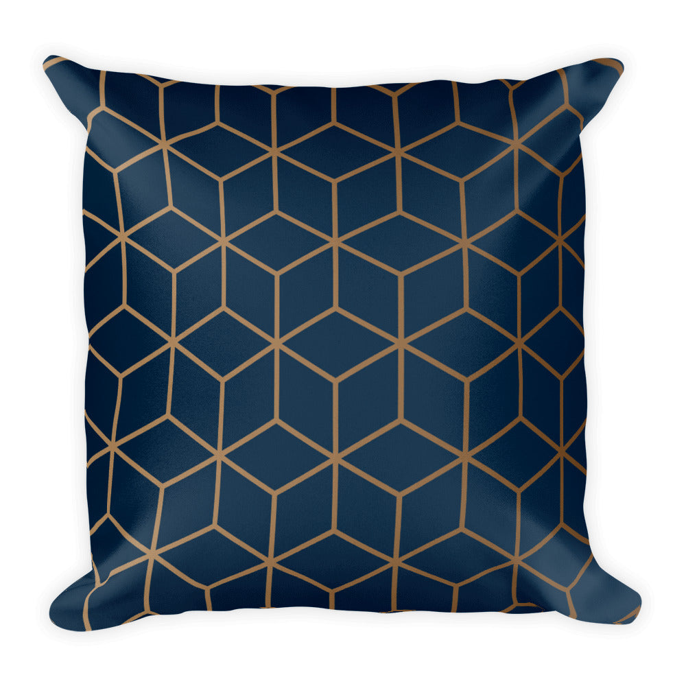 Default Title Diamonds Navy Gold Square Premium Pillow by Design Express