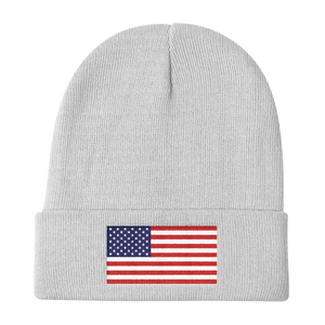 "White United States Flag ""Solo"" Knit Beanie by Design Express"