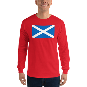 "Red / S Scotland Flag ""Solo"" Long Sleeve T-Shirt by Design Express"