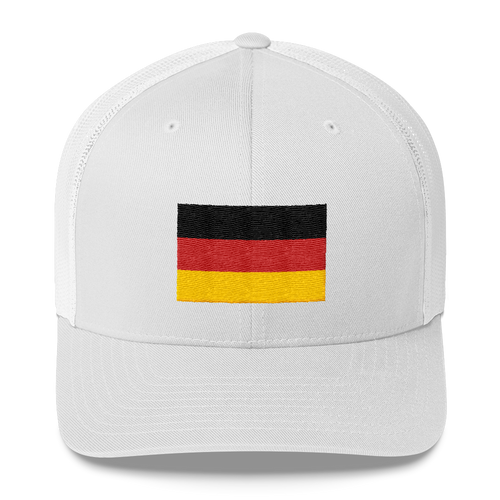 White Germany Flag Embroidered Trucker Cap by Design Express