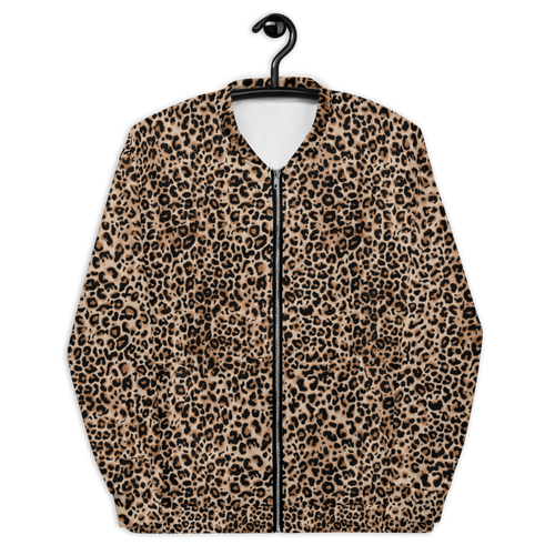 XS Golden Leopard Unisex Bomber Jacket by Design Express