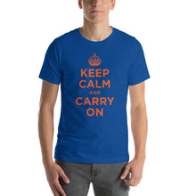 True Royal / S Keep Calm and Carry On (Orange) Short-Sleeve Unisex T-Shirt by Design Express
