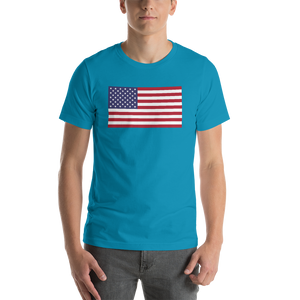 "Aqua / S United States Flag ""Solo"" Short-Sleeve Unisex T-Shirt by Design Express"