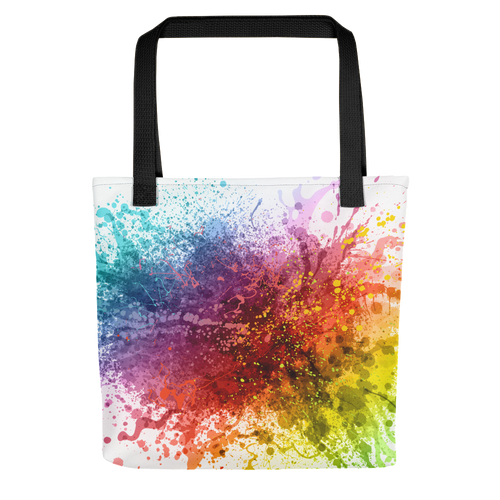 Default Title Rainbow Paint Splash Tote bag by Design Express