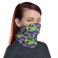 Green Blue Violet 2 Camo Neck Gaiter Masks by Design Express