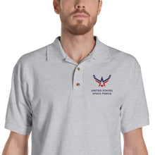Sport Grey / S United States Space Force Embroidered Polo Shirt by Design Express