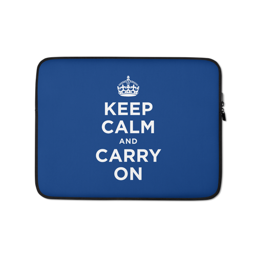 13 in Navy Keep Calm and Carry On Laptop Sleeve by Design Express