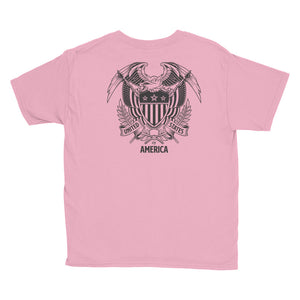 United States Of America Eagle Illustration Backside Youth Short Sleeve T-Shirt by Design Express