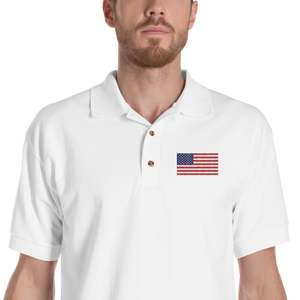 "White / S United States Flag ""Solo"" Embroidered Polo Shirt by Design Express"