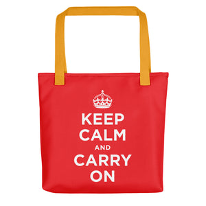 Yellow Keep Calm and Carry On (Red White) Tote bag Totes by Design Express