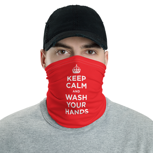 Default Title Red Keep Calm and Wash Your Hands Neck Gaiter Masks by Design Express