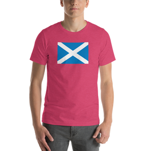 "Heather Raspberry / S Scotland Flag ""Solo"" Short-Sleeve Unisex T-Shirt by Design Express"