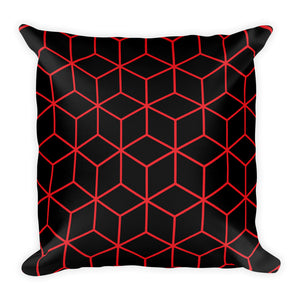 Diamonds Black Red Square Premium Pillow